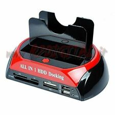 "DOCKING STATION HD SATA IDE 3,5/2,5"" HARD DISK BOX USB 2.0/3.0 CARD READER CLONE"