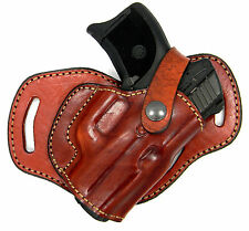 Brown Leather 3-slot MIDDLE SMALL OF BACK (SOB) OWB Holster - SPRINGFIELD XD