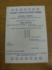 02/10/1983 Tottenham Hotspur v Nottingham Forest - Ticket Application Form, Unus