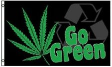 GO GREEN FLAG BANNER 3X5' MARIJUANA LEAF SMOKE NEW