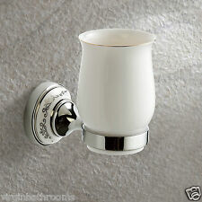 VICTORIAN STYLE SOLID BRASS CHROME CERAMIC BATHROOM ROUND SINGLE TUMBLER HOLDER