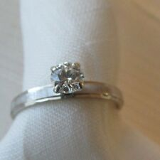 14k white gold .375 ct diamond solitaire wedding engagement ring size 5