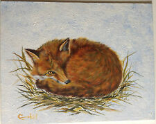 L Cahill Resting Red Fox Original Acrylic Painting Snow Grass Nest Wildlife