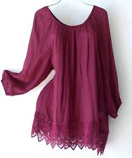 NEW~Berry Burgundy Wine Crochet Lace Peasant Blouse Shirt Plus Boho Top~18/20/1X