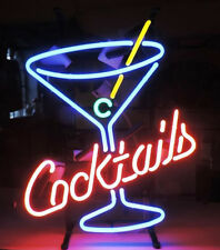 """Cocktails Martini Glass Logo Beer Bar Real Neon Light Sign Xmas17""""X14""""Z035"""
