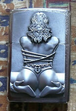 NOVELTY 3D BONDAGE GIRL EMBLEM ZIPPO LIGHTER FREE P&P FREE FLINTS