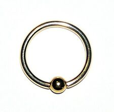 "NEW Solid 14k Gold Ring 16g x3/8"" CBR 14/20GF Body Jewelry eye/ear/nose/Etc NIB"