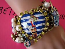 BETSEY JOHNSON SHIP SHAPE SAILOR/PINUP GIRL HEART STATEMENT TOGGLE BRACELET~NWT