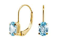 Zarte Klassische Ohrringe Gold mit Blautopas
