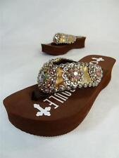 GYPSY SOULE Brown CW- SUPER NOVA SZ 6  Platform Embellished Sandal Flip Flops