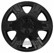 "Set of 4 BLACK 15"" Hub Caps Wheel Covers 6 Spoke Star Full Tire Rim Lug Hubs New"