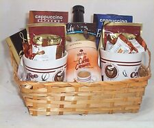Coffee Chocolate Lovers Gift Basket Cappuccino Mocha 2 Mugs Syrup Creamer Candy