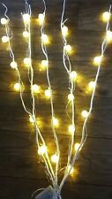 Cream Branch/Twig Lights+ Rattan balls  30 White Lights-120cm/1.2Metre/Battery