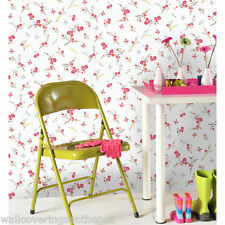Shabby Chic Butterflies & Blossom Wallpaper by Holden Decor, White Background