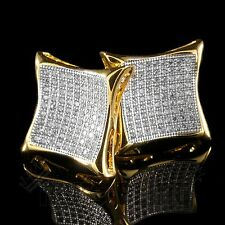 18K Gold ICED OUT Simulate Diamond Micropave AAA Earring Stud Square Hip Hop 9G