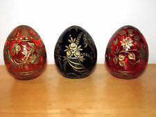 VINTAGE FABERGE COLORED EGGS 3X LOT IMPERIAL RUSSIA ART CUT GLASS GOLD HAND WORK