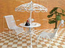Handmade White Metal Outdoor Table Chairs Miniature DollHouse Furniture Play set