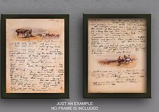1919 Charles Russell 2 Page letter, Southwestern Art, E.C Abbot, TWO PRINTS, 17""