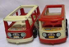 TLC Lot of  2 Early Vintage 1970-76 Fisher-Price PLAY FAMILY MINI-BUS #141