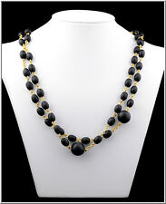 Pilgrim danemark bijoux perles noires women's long elegant or collier sale