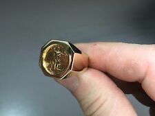 14K Gold Mens 25MM COIN RING with a 22K 1/10 OZ AMERICAN EAGLE COIN
