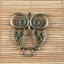 4pcs antiqued bronze hollow owl pendant G1497