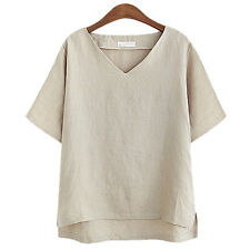Women Korean Cotton Linen Asymmetric Summer Beach Casual Loose Tops Shirt Blouse