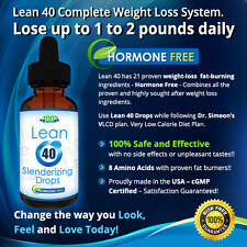 Lean 40-Hormone Free HCG FREE Diet Drops Lose 1-2 Pounds daily w/Free VLCD Plan