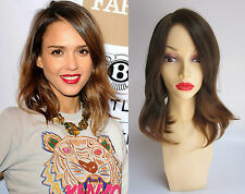 DELUXE JESSICA ALBA MIDI BROWN BLONDE OMBRE HEAT RESISTANT FASHION CELEBRITY WIG