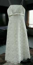 DAVID'S BRIDAL 'GALINA' T8627 LACE WEDDING GOWN SZ.6 SPAG.STRAPS,IVORY/CHAMPAGNE