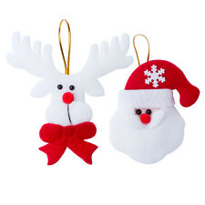 Set of 2 Felt Christmas Tree Decorations Ornaments Santa Reindeer Fabric Hangers