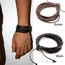 New Black Wrap Leather Bracelets Mens Braided Rope Fashion Jewelry Accessories