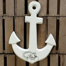 small ANCHOR Wooden Wall Plaque with Fish & Stamp print Bathroom, Bedroom decor