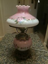 Vintage Gone with the Wind Hurricane Lamp - Pink Roses