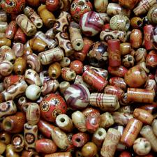 100pcs Cuentas De Madera ~ patrones mixtos y mixtos formas Tubo Redondo de arroz de granos mezclan