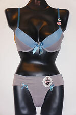 2 pcs Gray / Blue Nylon Light Push-Up Women's Demis Bra-Panties Set sz 32B / S