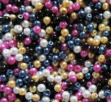 300 White Black Blue Pink Gold Mix 4mm Glass Pearls Bead Mix Coated