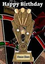 Darts sport Trophy card  A5 Personalised Greeting Card Happy Birthday PID995