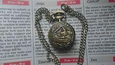 MINI Orologio da Taschino Bronzo Collana a un pendente Retrò LOCOMOTIVA a VAPORE + sacchetto di velluto