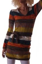 Womens V Neck LS Long Sweater with Belt Brown Yellow Cream Stripe XS X-Small NEW