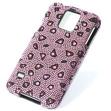 For Samsung Galaxy S5 -DIAMOND BLING HARD FITTED CASE COVER PINK LEOPARD CHEETAH