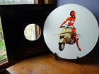 """1955 Vespa Scooter, mod, 60's 12"""" LP Vinyl Record Wall Clock, Pop Art Canvas"""