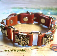 Men Cool Metal Trinity Cross Leather Hip Hop Surfer Character Bracelet Wristband