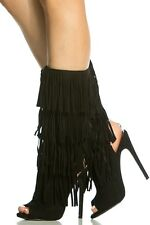 Fringe black boots  new sz 9