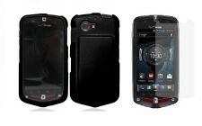 Screen Protector + Black Cover Case for Casio G'zOne Commando 4G LTE C811 Phone