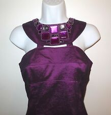 Adrianna Papell Party Dress sz 10 with Beaded Neckline Purple Sleeveless Stretch