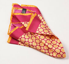 New $215 KITON NAPOLI Raspberry Red-Gold Medallion Print Silk Pocket Square