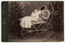 Child in Vintage Wicker Carriage Baby Stroller / Pram, T.S. Hill, St. Catharines