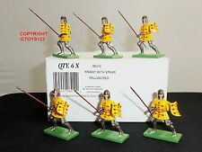 BRITAINS 08412 6 YELLOW/RED FOOT KNIGHTS METAL TOY SOLDIER FIGURES + TRADE BOX