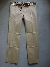 Roberto Cavalli Señoras Cinturón Pantalones De Pierna Recta En Oro/Beige Tamaño 42/UK 10